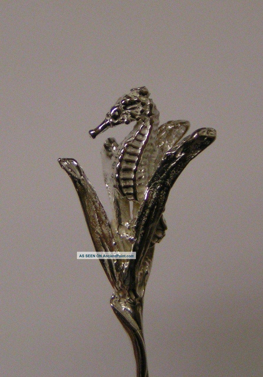 Salt Spoon (seahorse) Sterling Silver Salt Cellars photo