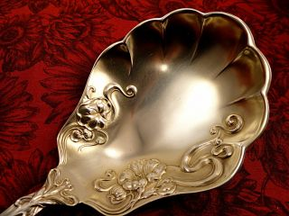 Gold Washed Antique Berry Casserole Spoon 1904 Berwick Diana Art Nouveau Rogers photo