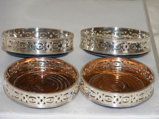 4 Vintage Matching Silver Plate & Mahogany Wine Coasters + Display Box photo