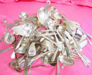 85 Pc Lot Serving Pieces 8 Pounds Vintage - Antique Silverware - Flatware photo