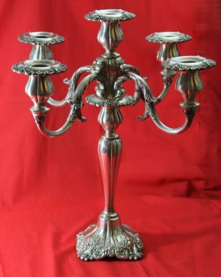 40 Years Old - Wallace Grande Baroque Silverplate Candlestick 5 Taper Candle photo