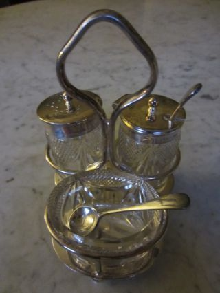 Antique Sterling Silver & Crystal Caddy 2 Tiny Silver Spoons Condiment Hallmark photo