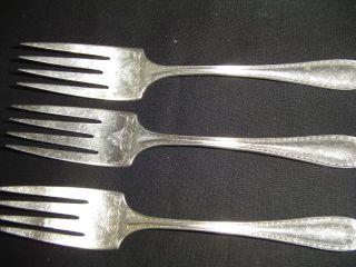 Community Silverplate Sheraton Pattern - 3 Salad Or Dessert Fork 1910 photo