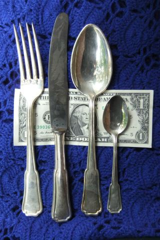 Vintage German Rosterei Silverplate Fork Spoon Knife Small Spoon 4 Pcs Old Mark photo