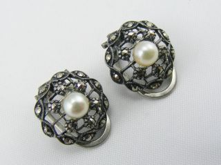 Antique Solid Silver Art Deco Maracsite And Pearl Clip On Earrings photo