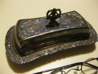 B.  Rogers Silverplate Covered Butter Dish photo