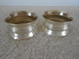 Pair Wallace Sterling Napkin Rings Pattern 5624 1in H 2in Dia photo