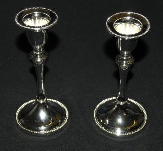 Pair Minstrel Silver Plated Candlesticks (ep8) photo