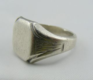 Vintage Early Heavy Gents Solid Silver Signet Ring Seal Ring Blank photo