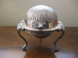 Vintage F B Rogers 1883 373 Silverplated Roll Top Footed Butter Dish W/ Glass photo