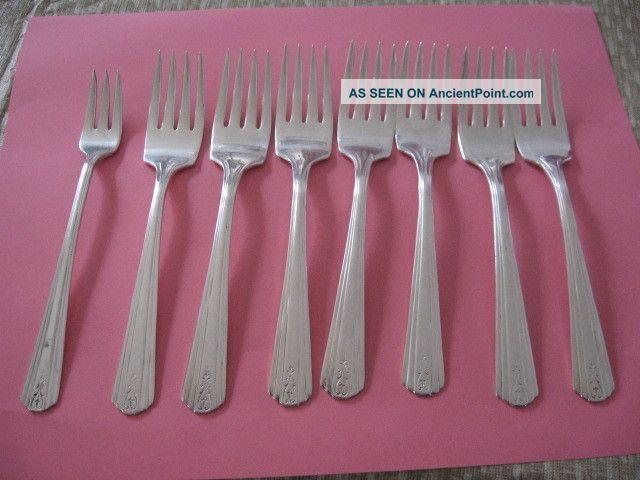 7 Vintage Avon Silver Plate Salad Forks - 6