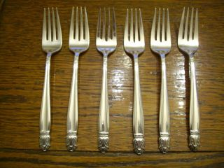 6 Holmes & Edwards 1938 Danish Princess Salad Dessert Forks Is Silverplate photo