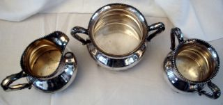 Victorian Silver Service,  Sugar,  Creamer And Waste Bowl,  Reed & Barton photo