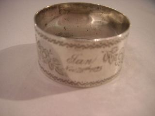 Antique Silver Napkin Ring With Pretty Flower Engraved Pattern 1892 photo