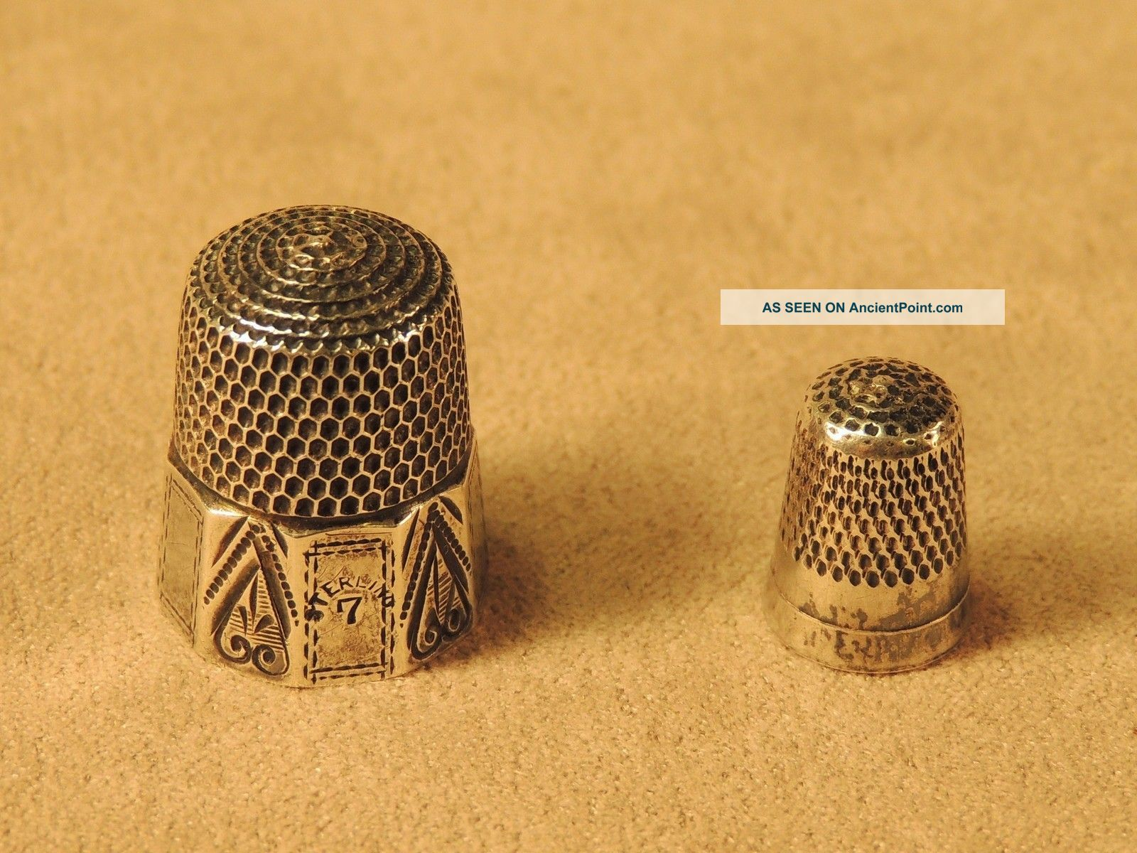 2 Antique Sterling Thimbles: A 10 - Panel Victorian Simon Bros & A Teeny One Thimbles photo