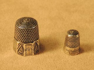 2 Antique Sterling Thimbles: A 10 - Panel Victorian Simon Bros & A Teeny One photo