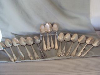 16 Piece Lot Vintage Silverplate Teaspoons Mixed Makers Arts & Crafts photo