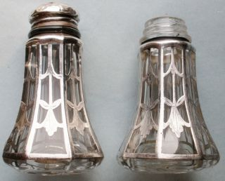 Early Sterling Silver Overlay Glass S & P Shakers photo