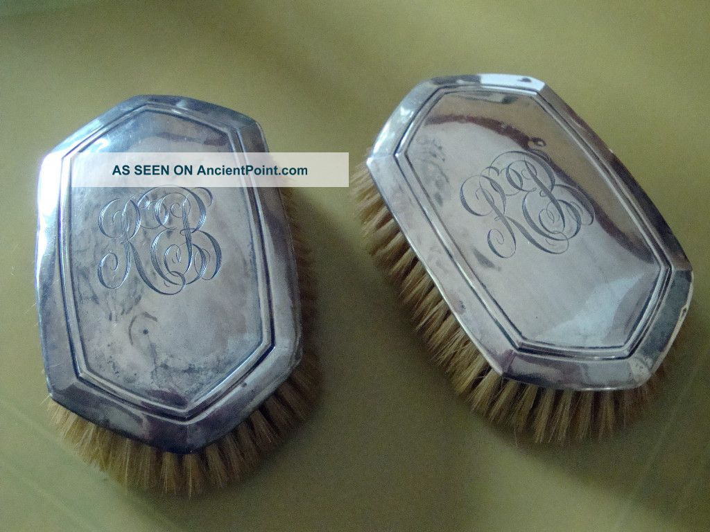 Antique Pair Of Sterling Silver Clothes Brushes With Monogram Brushes & Grooming Sets photo
