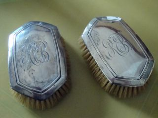 Antique Pair Of Sterling Silver Clothes Brushes With Monogram photo