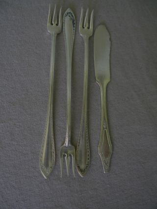 4 Silverplate Misc.  Serving Pcs; 3 Pickle Forks,  1 Butter Knife photo