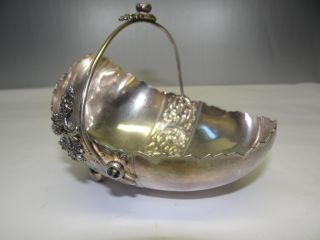 Antique Victorian 1890 Derby Silver 1136 Silverplate Best Wishes Easter Basket photo