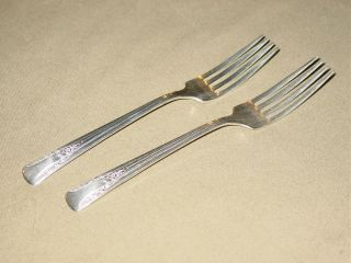 Vintage Camelia Two Dinner Forks 1940 Silver Plate International Silver photo