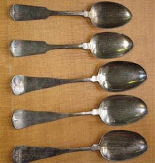 Antique Silverplate Serving Spoons Five Assorted Rogers photo