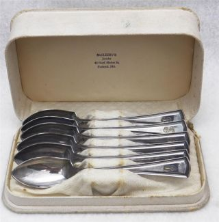 Antique Boxed Set Of Alvin Silver Plate Grapefruit Spoons George Washington
