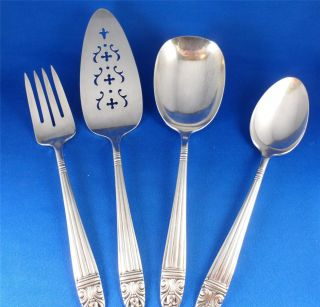 1944 Danish Queen Wallace Harmony House Aa+silverplate 4 - Pc Serving Set Ex Cond photo