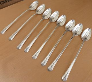 8 Holmes & Edwards Silverplate Iced Tea Spoons,  Spring Garden,  1949, photo