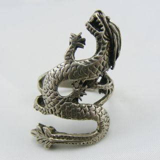 Antique Solid Silver Chinese Dragon Ladies Ring Large Heavy photo