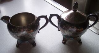 F.  B.  Rogers Silverplate Creamer & Sugar Bowl W/lid photo
