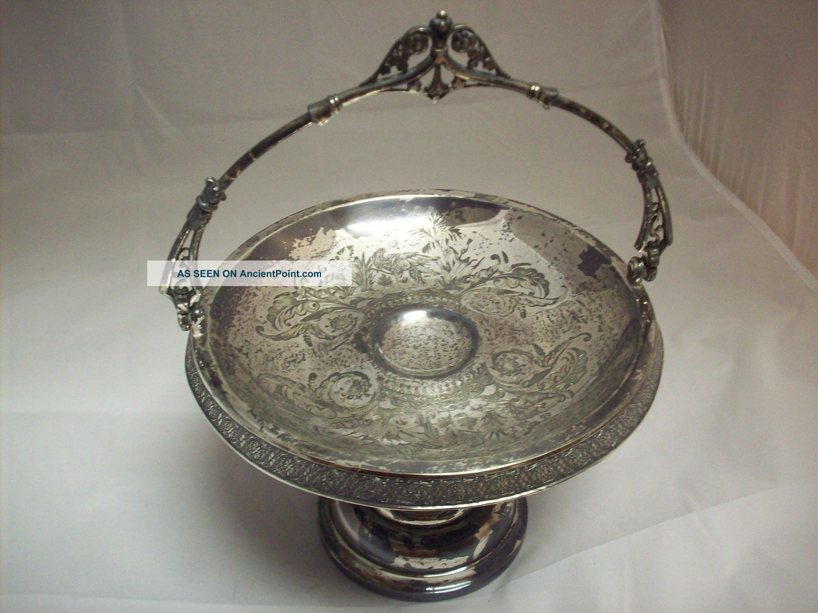 Vintage Simpson Hall Treble Plated Bride ' S Basket With Etched Design Baskets photo