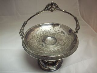 Vintage Simpson Hall Treble Plated Bride ' S Basket With Etched Design photo
