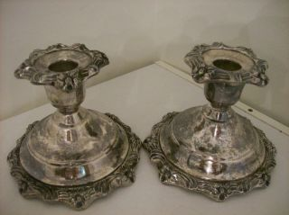 Pair Of Antique Sheridan Silver Vintage Taper Candle Holders Flower Design photo