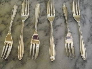 Set Of 6 Vintage Art Deco Cake Forks photo