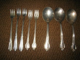 8 Piece Vintage International Silverplate Seafood Forks & Spoons Flatware photo