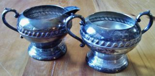 Silverplated Creamer And Sugar Bowl Stamped Details photo