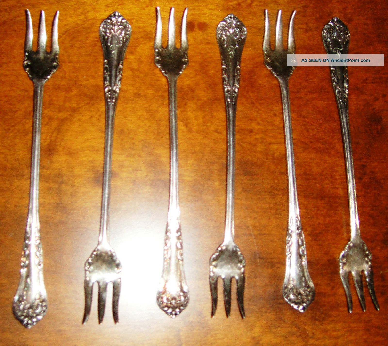 6 Antique Vintage Rogers 1898 Anchor Pickle Olive Fork Silverplate Initial F Other photo