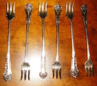 6 Antique Vintage Rogers 1898 Anchor Pickle Olive Fork Silverplate Initial F photo