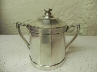 Vintage Grand Silver Co.  Wear - Brite Silver Plate Sugar Bowl With Hinged Lid photo