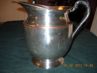 Big Vintage Silver On Copper Pitcher From F B Rogers Silver Co Is 7 1/2 In Tall photo