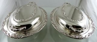 Canada Silver Plate Scroll Covered Entree Serving Dishes By Vikana photo