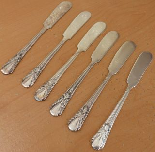 6 Rogers Silverplate Butter Spreaders,  Avalon,  Cabin,  1940, photo