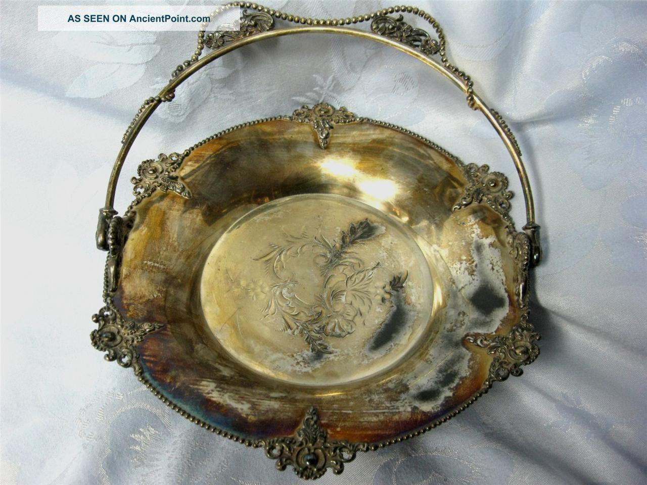 Antique Rockford Silver Plate Co Quadruple Basket Repousse Design Baskets photo