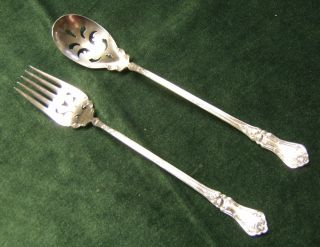 Antique Silver Pierced Lettuce Serving Set Fork & Spoon Rosemary 1906 Roses photo