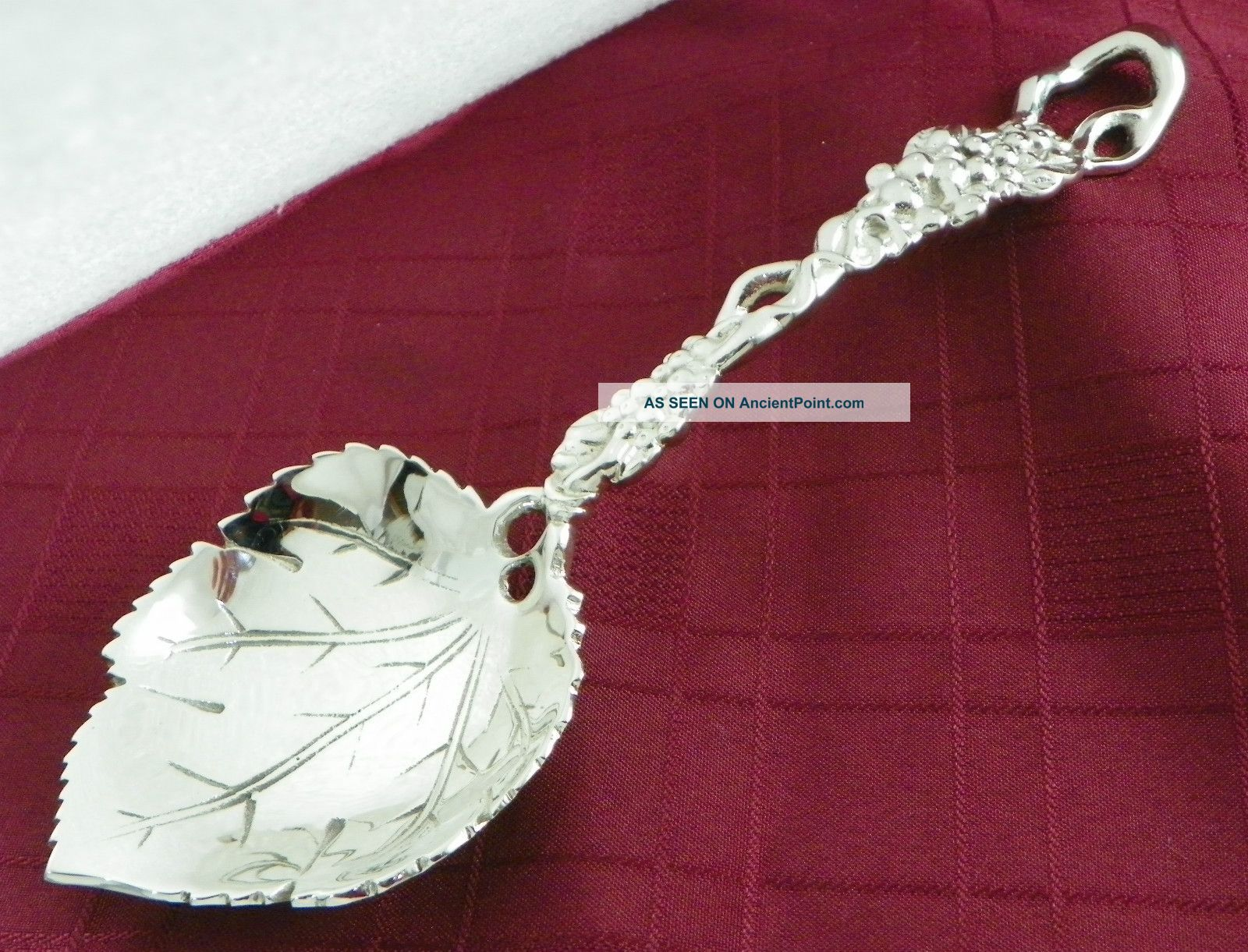 Spectacular Heavy Silver Plate Berry Spoon Grape Vine Leaf Pattern 10.  5 Inches Other photo