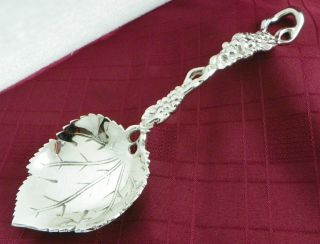 Spectacular Heavy Silver Plate Berry Spoon Grape Vine Leaf Pattern 10.  5 Inches photo