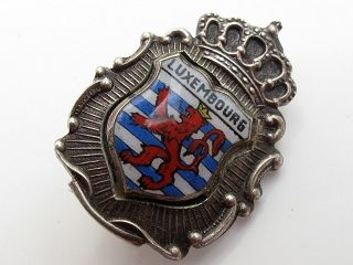 Vintage Sterling Silver Enamel Luxembourg Travel Shield Brooch photo